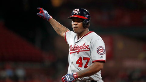 <p>               Washington Nationals' Howie Kendrick celebrates after hitting a single during the eighth inning of the team's baseball game against the St. Louis Cardinals on Tuesday, Sept. 17, 2019, in St. Louis. (AP Photo/Jeff Roberson)             </p>