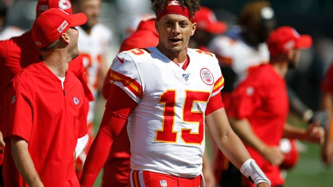 <p>               Kansas City Chiefs quarterback Patrick Mahomes stands on the sidelines during the second half of an NFL football game against the Oakland Raiders Sunday, Sept. 15, 2019, in Oakland, Calif. (AP Photo/D. Ross Cameron)             </p>