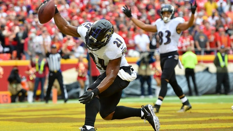 <p>               FILE - In this Sept. 22, 2019, file photo, Baltimore Ravens running back Mark Ingram II (21) spikes the ball after scoring a touchdown against the Kansas City Chiefs during the first half of an NFL football game, in Kansas City, Mo. Looking every bit as good as he did in his heyday with the New Orleans, Mark Ingram has proven to be a huge asset to the Baltimore Ravens' running game. (AP Photo/Ed Zurga, File)             </p>