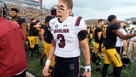 <p>               South Carolina starting quarterback Ryan Hilinski walks off the field after his team was beaten 34-14 by Missouri in an NCAA college football game, Saturday, Sept. 21, 2019, in Columbia, Mo. (AP Photo/L.G. Patterson)             </p>