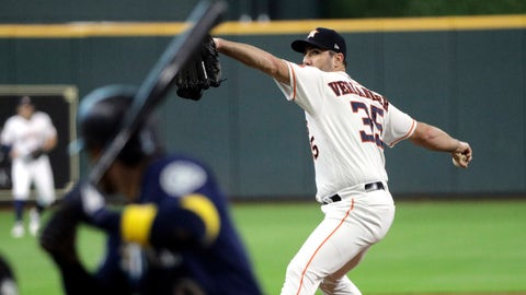 <p>               Houston Astros starting pitcher Justin Verlander (35) throws to Seattle Mariners' Mallex Smith during the first inning of a baseball game Saturday, Sept. 7, 2019, in Houston. (AP Photo/David J. Phillip)             </p>