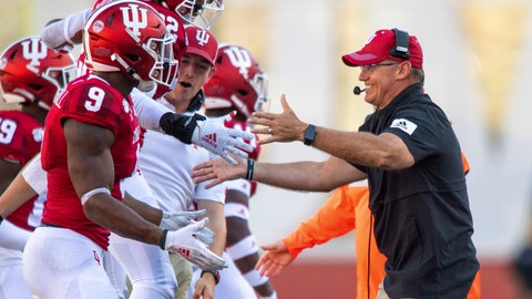 <p>               Indiana head coach Tom Allen greets players as they head to the bench during the second half of an NCAA college football game against Eastern Illinois, Saturday, Sept. 7, 2019, in Bloomington, Ind. Indiana won 52-0. (AP Photo/Doug McSchooler)             </p>