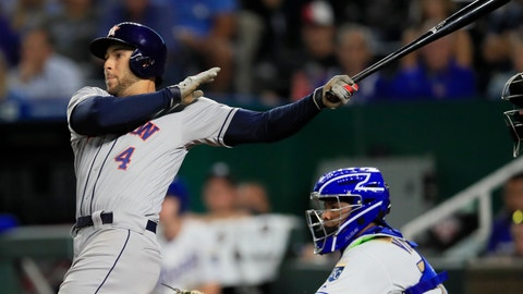 <p>               Houston Astros' George Springer watches his three-run home run during the ninth inning of the team's baseball game against the Kansas City Royals at Kauffman Stadium in Kansas City, Mo., Friday, Sept. 13, 2019. The Astros won 4-1. (AP Photo/Orlin Wagner)             </p>