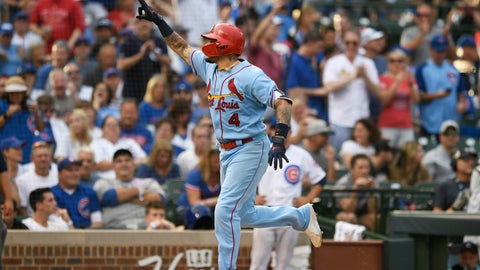 <p>               St. Louis Cardinals' Yadier Molina celebrates while rounding the bases after hitting a solo home run during the ninth inning of baseball game against the Chicago Cubs Saturday, Sept. 21, 2019, in Chicago. (AP Photo/Paul Beaty)             </p>