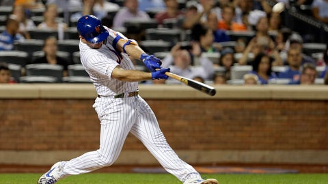 <p>               New York Mets' Pete Alonso hits his 53rd home run of the season during the third inning of a baseball game against the Atlanta Braves, Saturday, Sept. 28, 2019, in New York. (AP Photo/Adam Hunger)             </p>