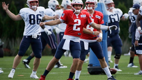 <p>               New England Patriots quarterbacks Brian Hoyer (2) and Jarrett Stidham (4) warm up along with and tight end Andrew Beck (86) at NFL football practice, Monday, Aug. 19, 2019, in Foxborough, Mass. (AP Photo/Elise Amendola)             </p>