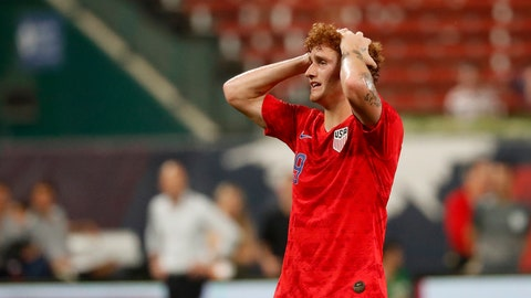 <p>               United States' Josh Sargent reacts to a missed shot during the second half of a friendly soccer match against Uruguay Tuesday, Sept. 10, 2019, in St. Louis. The game ended in a 1-1 tie. (AP Photo/Jeff Roberson)             </p>