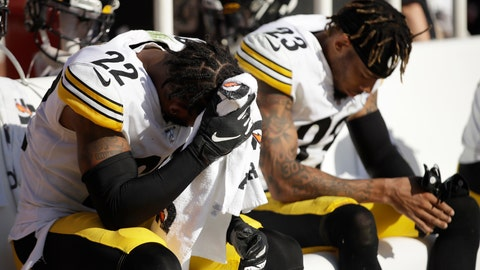 <p>               Pittsburgh Steelers cornerback Steven Nelson (22) sits on the bench next to cornerback Joe Haden (23) during the second half of an NFL football game against the San Francisco 49ers in Santa Clara, Calif., Sunday, Sept. 22, 2019. (AP Photo/Ben Margot)             </p>
