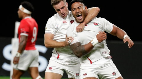 <p>               England's Manu Tuilagi, right, is congratulated by teammate George Ford after scoring his second try during the Rugby World Cup Pool C game at Sapporo Dome between England and Tonga in Sapporo, Japan, Sunday, Sept. 22, 2019. (AP Photo/Aaron Favila)             </p>