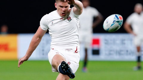 <p>               England's Owen Farrell kicks a penalty goal during the Rugby World Cup Pool C game between England and Tonga at Sapporo Dome in Sapporo, northern Japan, Sunday, Sept. 22, 2019. (Masanori Takei/Kyodo News via AP)             </p>