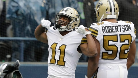 <p>               New Orleans Saints' Deonte Harris (11) celebrates his touchdown on a punt return against the Seattle Seahawks during the first half of an NFL football game Sunday, Sept. 22, 2019, in Seattle. (AP Photo/Ted S. Warren)             </p>