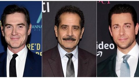 """<p>               This combination photo shows actors, from left, Billy Crudup, Tony Shalhoub and Zachary Levi who will participate in a reading of Don DeLillo's """"Pafko at the Wall,"""" a  fictionalization of the 1951 playoff game between the Brooklyn Dodgers and the New York Giants. The reading will take place Oct. 3 at Manhattan's 92nd Street Y. (AP Photo)             </p>"""