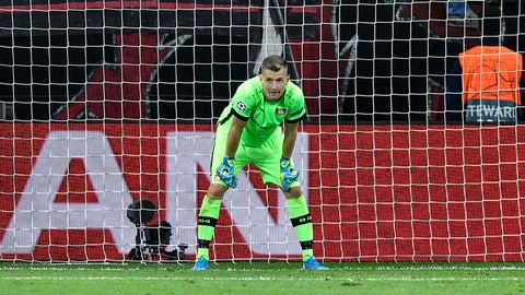 <p>               Leverkusen's goalkeeper Lukas Hradecky stands in his goal after he received the second goal during the Champions League Group D soccer match between Bayer Leverkusen and Lokomotiv Moscow at the BayArena in Leverkusen, Germany, Wednesday Sept. 18, 2019. (AP Photo/Martin Meissner)             </p>