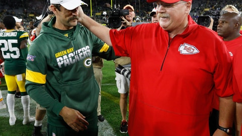 <p>               Green Bay Packers' Aaron Rodgers talks to Kansas City Chiefs head coach Andy Reid after a preseason NFL football game Thursday, Aug. 29, 2019, in Green Bay, Wis. (AP Photo/Mike Roemer)             </p>