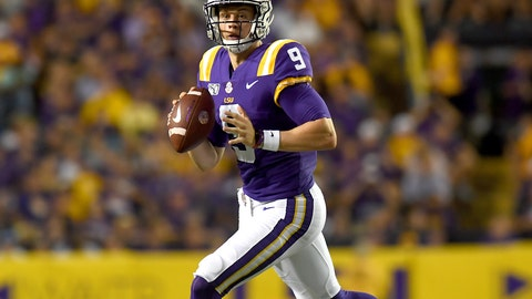 <p>               LSU quarterback Joe Burrow (9) looks for a receiver in the first half of an NCAA college football game against Northwestern State, Saturday, Sept. 14, 2019, in Baton Rouge, La. (AP Photo/Patrick Dennis)             </p>
