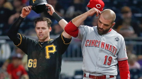 <p>               Pittsburgh Pirates' Jake Elmore (68) and Cincinnati Reds' Joey Votto (19) adjust their hats at the same time between pitches after Ellmore walked in the seventh inning of a baseball game, Saturday, Sept. 28, 2019, in Pittsburgh. (AP Photo/Keith Srakocic)             </p>