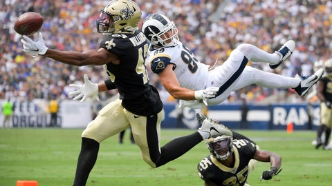 <p>               New Orleans Saints free safety Marcus Williams can't get a hand on a incomplete pass intended for Los Angeles Rams tight end Tyler Higbee (89) as Eli Apple, right, looks on during the first half of an NFL football game Sunday, Sept. 15, 2019, in Los Angeles. (AP Photo/Mark J. Terrill)             </p>