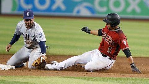 <p>               San Diego Padres' Luis Urias, left, tags out Arizona Diamondbacks' Edurado Escobar at second base during the ninth inning of a baseball game Sunday, Sept. 29, 2019, in Phoenix. (AP Photo/Darryl Webb)             </p>