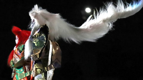 <p>               Kabuki dancers perform during the opening ceremony for the Rugby World Cup at Tokyo Stadium in Tokyo, Japan, Friday, Sept. 20, 2019. (AP Photo/Eugene Hoshiko)             </p>