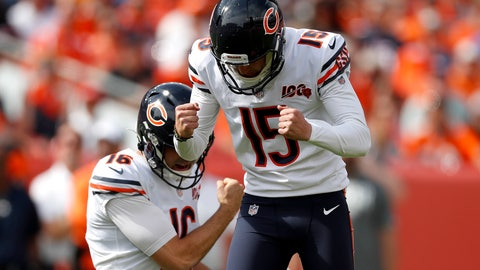 <p>               Chicago Bears kicker Eddy Pineiro (15) celebrates his field goal with punter Pat O'Donnell (16) during the first half of an NFL football game against the Denver Broncos, Sunday, Sept. 15, 2019, in Denver. (AP Photo/David Zalubowski)             </p>