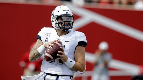 <p>               Connecticut quarterback Jack Zergiotis (11) looks to throw during the first half of an NCAA college football game against Indiana, Saturday, Sept. 21, 2019, in Bloomington, Ind. (AP Photo/Darron Cummings)             </p>