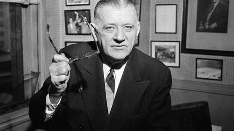 <p>               FILE - In this Feb. 13, 1957, file photo, NFL Commissioner Bert Bell gestures in his office in Philadelphia. Bert Bell was not the first NFL commissioner. He was, however, the first to make a major impact on pro football. To call Bell the father of the NFL draft would be accurate. It also would be an incomplete assessment, because Bell was a brilliant innovator who helped carry his league from afterthought to a player among American sports. (AP Photo/Warren M. Winterbottom, File)             </p>
