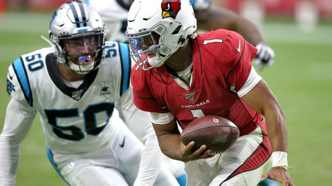 <p>               Arizona Cardinals quarterback Kyler Murray (1) is sacked by Carolina Panthers linebacker Christian Miller (50) during the second half of an NFL football game, Sunday, Sept. 22, 2019, in Glendale, Ariz. The Panthers won 38-20. (AP Photo/Ross D. Franklin)             </p>