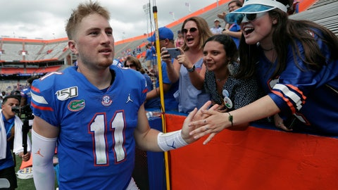 <p>               Florida quarterback Kyle Trask (11) celebrates with fans after defeating Tennessee in an NCAA college football game, Saturday, Sept. 21, 2019, in Gainesville, Fla. (AP Photo/John Raoux)             </p>
