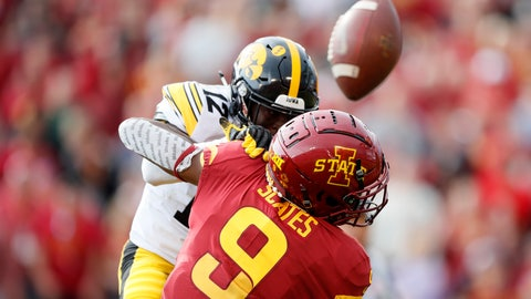 <p>               Iowa defensive back D.J. Johnson breaks up a pass intended for Iowa State wide receiver Joseph Scates (9) during the first half of an NCAA college football game, Saturday, Sept. 14, 2019, in Ames, Iowa. (AP Photo/Charlie Neibergall)             </p>