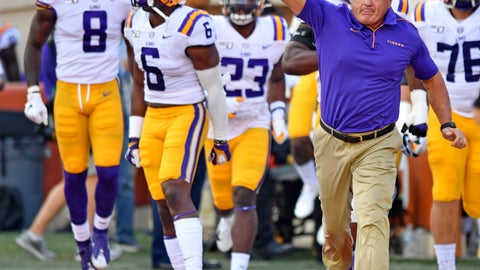 <p>               LSU coach Ed Orgeron takes the field with his players for an NCAA college football game against Texas on Saturday, Sept. 7, 2019, in Austin, Texas. (Hilary Scheinuk/The Advocate via AP)             </p>