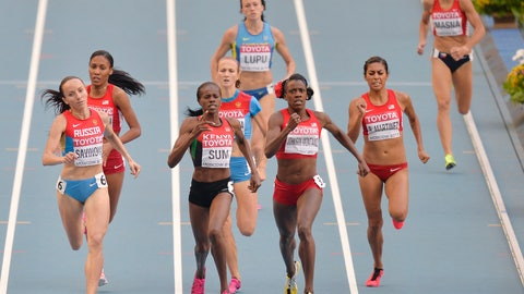 <p>               FILE _ In this Aug. 18, 2013, file photo, from front left to right, Russia's Mariya Savinova, Kenya's Eunice Jepkoech Sum, United States' Alysia Johnson Montano and United States' Brenda Martinez compete in the women's 800-meter final at the World Athletics Championships in the Luzhniki stadium in Moscow, Russia. Montano will receive bronze medals she was cheated out of by Savinova who finished ahead of her at the 2011 and 2013 world championships but was later disqualified for doping. (AP Photo/Martin Meissner, File)             </p>