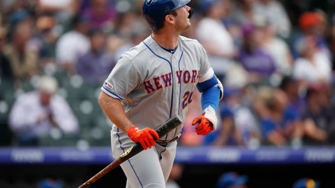 <p>               New York Mets' Pete Alonso follows the flight of his solo home run off Colorado Rockies starting pitcher Jeff Hoffman in the sixth inning of a baseball game Wednesday, Sept. 18, 2019, in Denver. (AP Photo/David Zalubowski)             </p>
