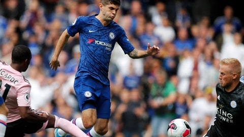 <p>               FILE - In this Sunday, Aug. 18, 2019 file photo, Chelsea's Christian Pulisic, center, vies for the ball with Leicester's Ricardo Pereira, left, in front of Leicester's goalkeeper Kasper Schmeichel, right, during the English Premier League soccer match between Chelsea and Leicester City at Stamford Bridge stadium in London. U.S. winger, Christian Pulisic, who completed his move to Stamford Bridge in the offseason for $73 million, hasn't played a minute of Chelsea's last three Premier League matches and also stayed on the bench during the team's 1-0 home loss to Valencia in the Champions League two weeks ago. (AP Photo/Frank Augstein, File)             </p>