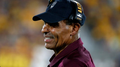 <p>               Arizona State coach Herm Edwards watches from the sideline during the first half of the team's NCAA college football game against Kent State, Thursday, Aug. 29, 2019, in Tempe, Ariz. (AP Photo/Ralph Freso)             </p>