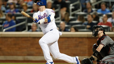 <p>               New York Mets' Pete Alonso watches his solo home run during the first inning of a baseball game against the Arizona Diamondbacks, Monday, Sept. 9, 2019, in New York. (AP Photo/Kathy Willens)             </p>