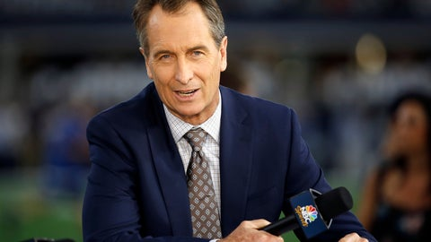 <p>               FILE - In this Oct. 30, 2016, file photo, NBC Sunday Night Football cast member Cris Collinsworth sits on the set during pregame of an NFL football game between the Philadelphia Eagles and the Dallas Cowboys in Arlington, Texas. Collinsworth will call his first Sunday Night game in Cleveland when the Browns take on the Los Angeles Rams. Cleveland holds a special place in Collinsworth's heart because it was where he called his first NFL game in 1990. (AP Photo/Ron Jenkins, File)             </p>