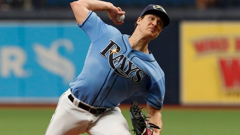 <p>               Tampa Bay Rays pitcher Tyler Glasnow works from the mound against the Toronto Blue Jays during the first inning of a baseball game on Sunday Sept. 8, 2019, in St. Petersburg, Fla. (AP Photo/Scott Audette)             </p>