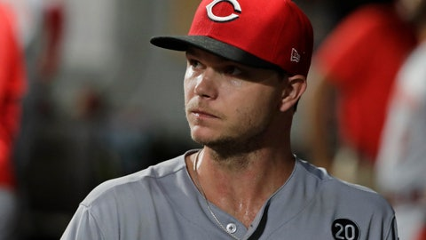 <p>               Cincinnati Reds starting pitcher Sonny Gray reacts in the dugout after he was pulled from a baseball game against the Seattle Mariners during the seventh inning Wednesday, Sept. 11, 2019, in Seattle. (AP Photo/Ted S. Warren)             </p>