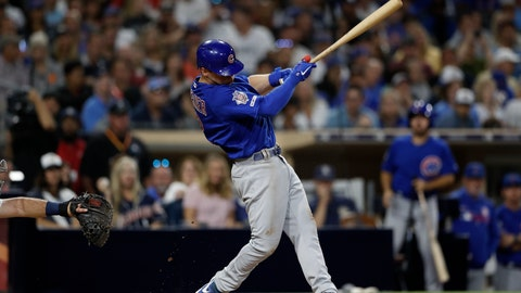 <p>               Chicago Cubs' Nico Hoerner hits a two-RBI triple during the fifth inning of a baseball game against the San Diego Padres Monday, Sept. 9, 2019, in San Diego. (AP Photo/Gregory Bull)             </p>