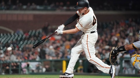 <p>               San Francisco Giants' Corban Joseph hits a grounder that scored a run against the Pittsburgh Pirates during the fifth inning of a baseball game Wednesday, Sept. 11, 2019, in San Francisco. (AP Photo/Tony Avelar)             </p>