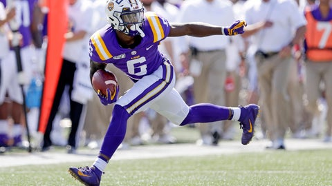 <p>               LSU wide receiver Terrace Marshall Jr. carries the ball against Vanderbilt in the first half of an NCAA college football game Saturday, Sept. 21, 2019, in Nashville, Tenn. (AP Photo/Mark Humphrey)             </p>