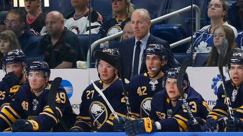 <p>               Buffalo Sabres coach Ralph Krueger watches during the third period of the team's NHL preseason hockey game against the Toronto Maple Leafs, Saturday, Sept. 21, 2019, in Buffalo, N.Y. (AP Photo/Jeffrey T. Barnes)             </p>