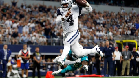 <p>               FILE- In this Sunday, Sept. 22, 2019, file photo, Dallas Cowboys quarterback Dak Prescott (4) gets past Miami Dolphins defensive back Walt Aikens (35) and into the end zone for a touchdown in the second half of an NFL football game in Arlington, Texas. With the Cowboys at 3-0, their fans are beginning to see America's Team as a team of destiny. (AP Photo/Ron Jenkins, File)             </p>