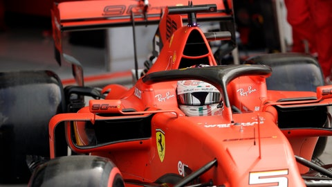 <p>               Ferrari driver Sebastian Vettel of Germany enters the pit-lane during the third free practice at the Monza racetrack, in Monza, Italy , Saturday, Sept.7, 2019. The Formula one race will be held on Sunday. (AP Photo/Luca Bruno)             </p>