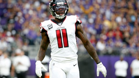 <p>               Atlanta Falcons wide receiver Julio Jones gets set for a play during the first half of an NFL football game against the Minnesota Vikings, Sunday, Sept. 8, 2019, in Minneapolis. (AP Photo/Bruce Kluckhohn)             </p>