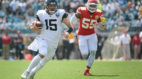 <p>               Jacksonville Jaguars quarterback Gardner Minshew III (15) scrambles for yardage past Kansas City Chiefs defensive end Frank Clark (55) during the first half of an NFL football game, Sunday, Sept. 8, 2019, in Jacksonville, Fla. (AP Photo/Phelan M. Ebenhack)             </p>