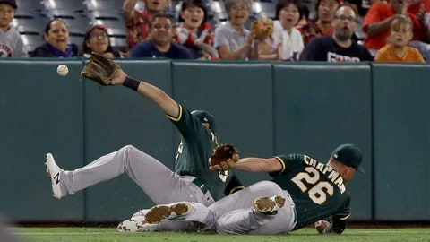 <p>               Oakland Athletics left fielder Chad Pinder, left, and third baseman Matt Chapman, right, just miss a fly ball that fell between them for an RBI double by Los Angeles Angels' Brian Goodwin to score Matt Thaiss during the fifth inning of a baseball game in Anaheim, Calif., Tuesday, Sept. 24, 2019. (AP Photo/Alex Gallardo)             </p>