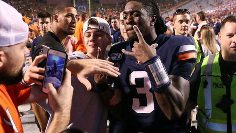 <p>               Virginia quarterback Bryce Perkins (3) celebrates with fans after Virginia defeated Florida State 31-24 during an NCAA college football game in Charlottesville, Va., Saturday, Sept. 14, 2019. (AP Photo/Andrew Shurtleff)             </p>