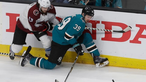 <p>               FILE - In this May 8, 2019, file photo, San Jose Sharks center Logan Couture (39) reaches for the puck in front of Colorado Avalanche center Alexander Kerfoot (13) during the first period of Game 7 of an NHL hockey second-round playoff series in San Jose, Calif. The Sharks wasted little time replacing Joe Pavelski as captain, giving the role to Couture even before starting training camp. (AP Photo/Jeff Chiu, File)             </p>