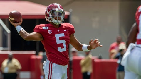 <p>               Alabama quarterback Taulia Tagovailoa (5) throws on fourth down to Alabama wide receiver Slade Bolden (18) for the first down against Southern Miss during the second half of an NCAA college football game, Saturday, Sept. 21, 2019, in Tuscaloosa, Ala. (AP Photo/Vasha Hunt)             </p>